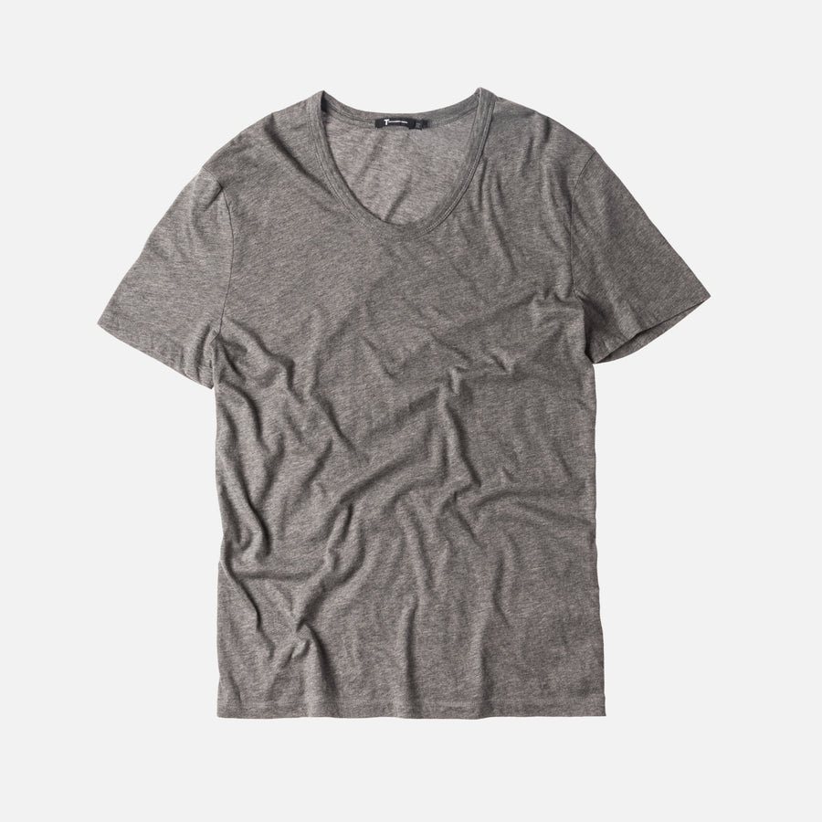 T by Alexander Classic Low Neck Tee - Heather Grey