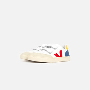 Veja Pre-School V-12 Leather - Extra White / Multicolor / Indigo Image 3