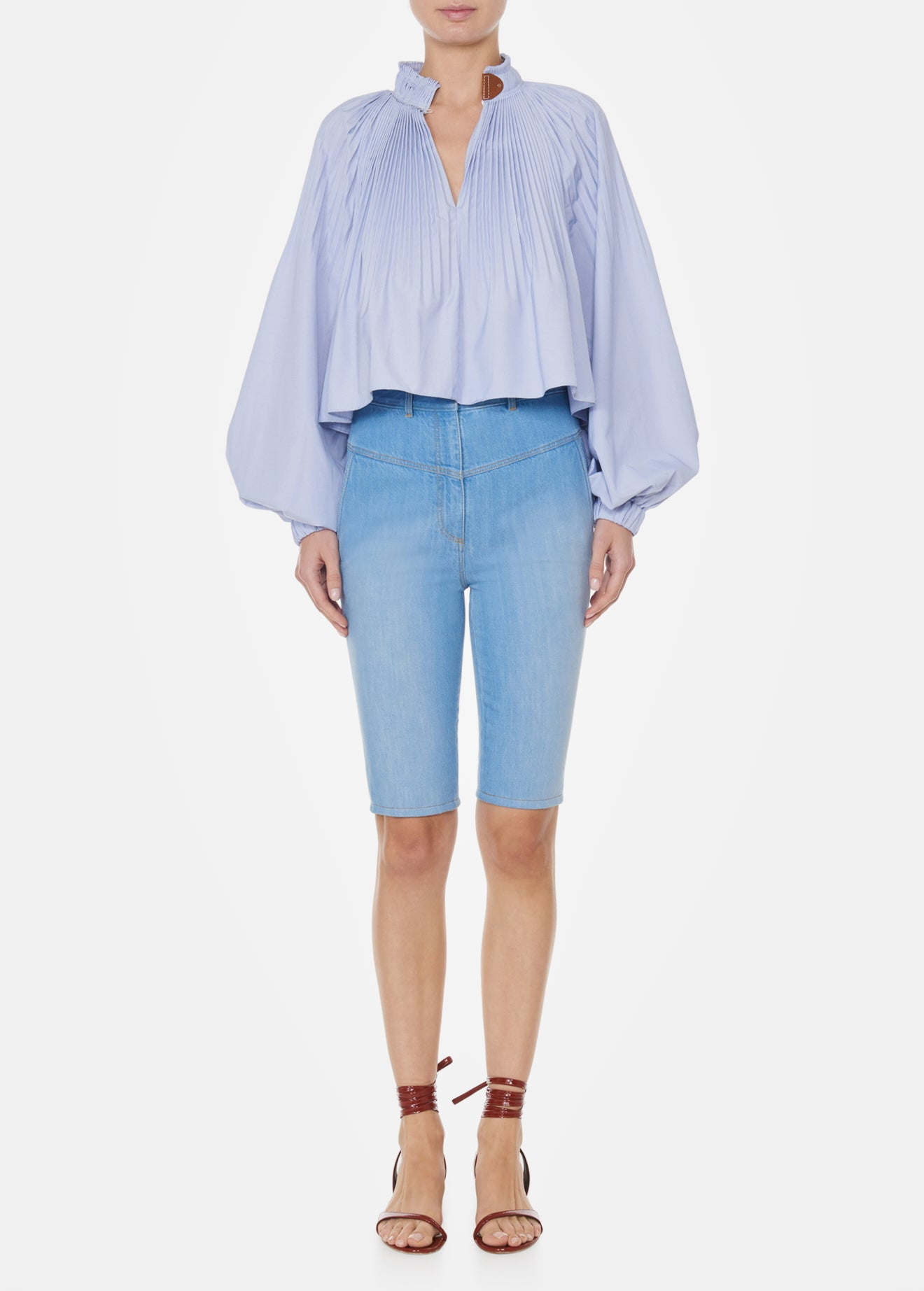 Tibi Vintage Stone Wash Trish Denim Short - Blue