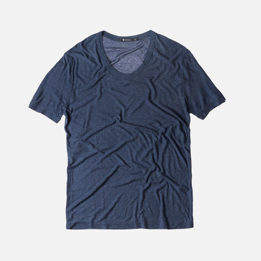 T by Alexander Slub Rayon Tee - Officer Blue