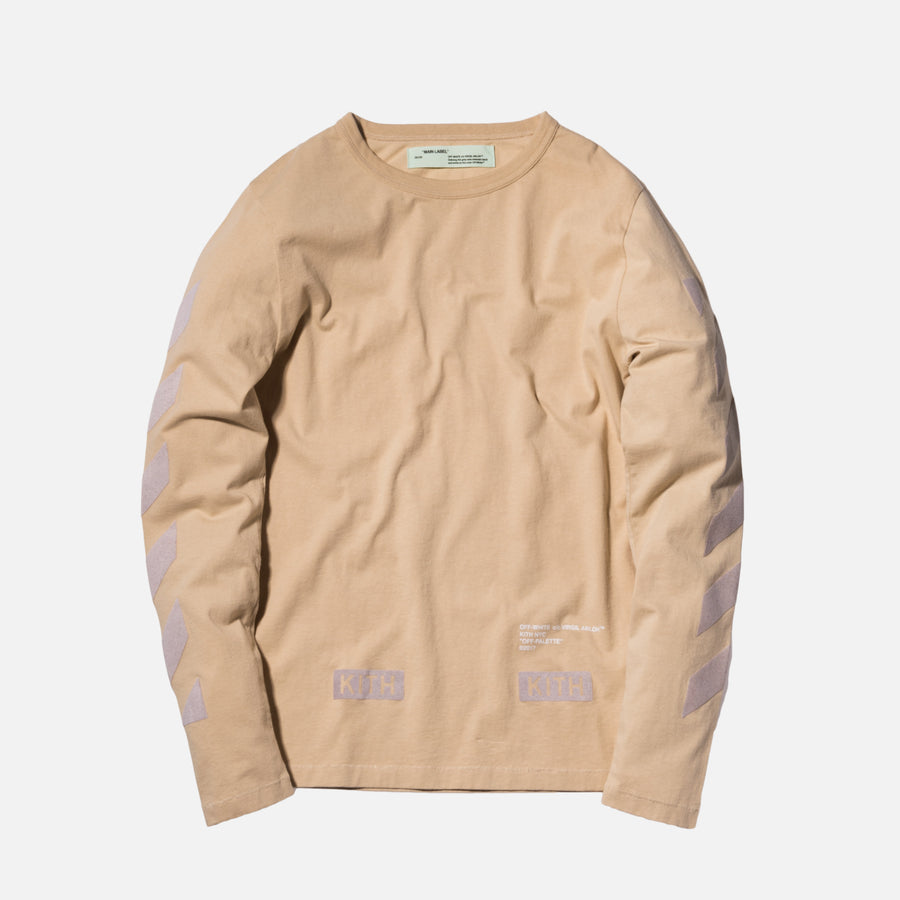Kith x Off-White Flocked L/S Tee - Sand