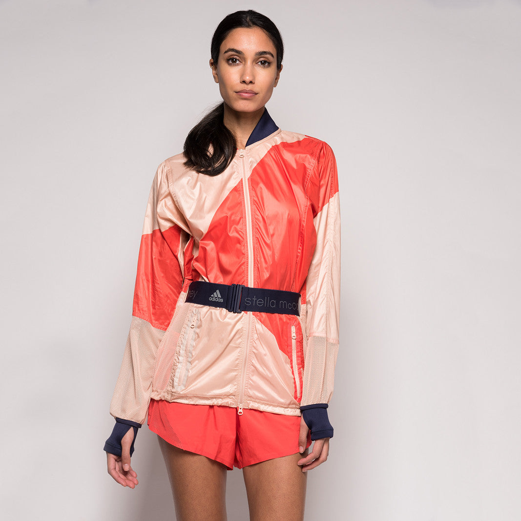 adidas by Stella McCartney Run Climastorm Kite Jacket -  Soft Powder / Bright Red / Shock Pink