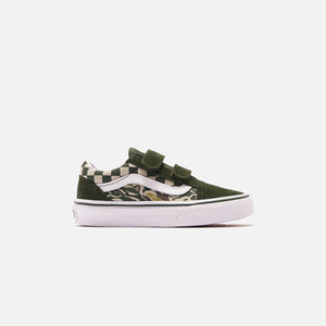 Vans Pre-School Old Skool V Camo Checkboard - Kombu Green / True White