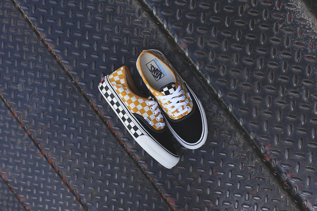 a330d541db0 Vans Authentic SF Checkerboard - Black   Sunflower – Kith
