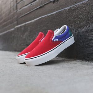 Vans Classic Slip-On Platform Tri-Block - Tango Red / Liber