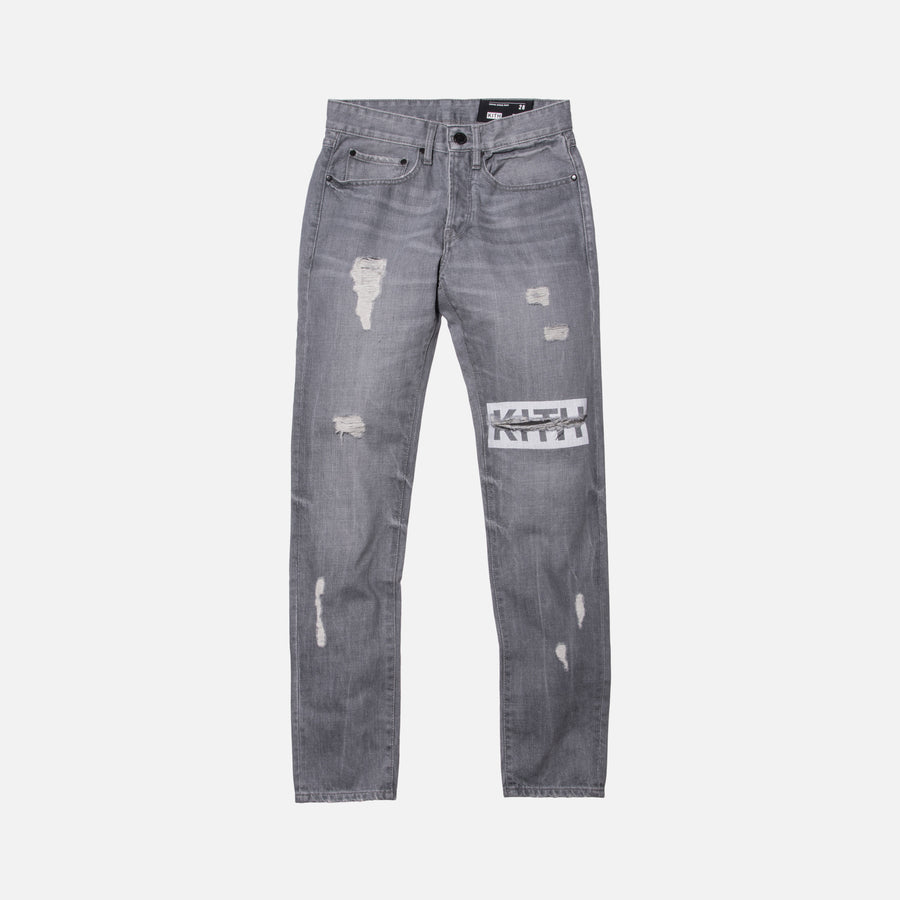 Kith Classics Varick Destroyed Denim - Grey