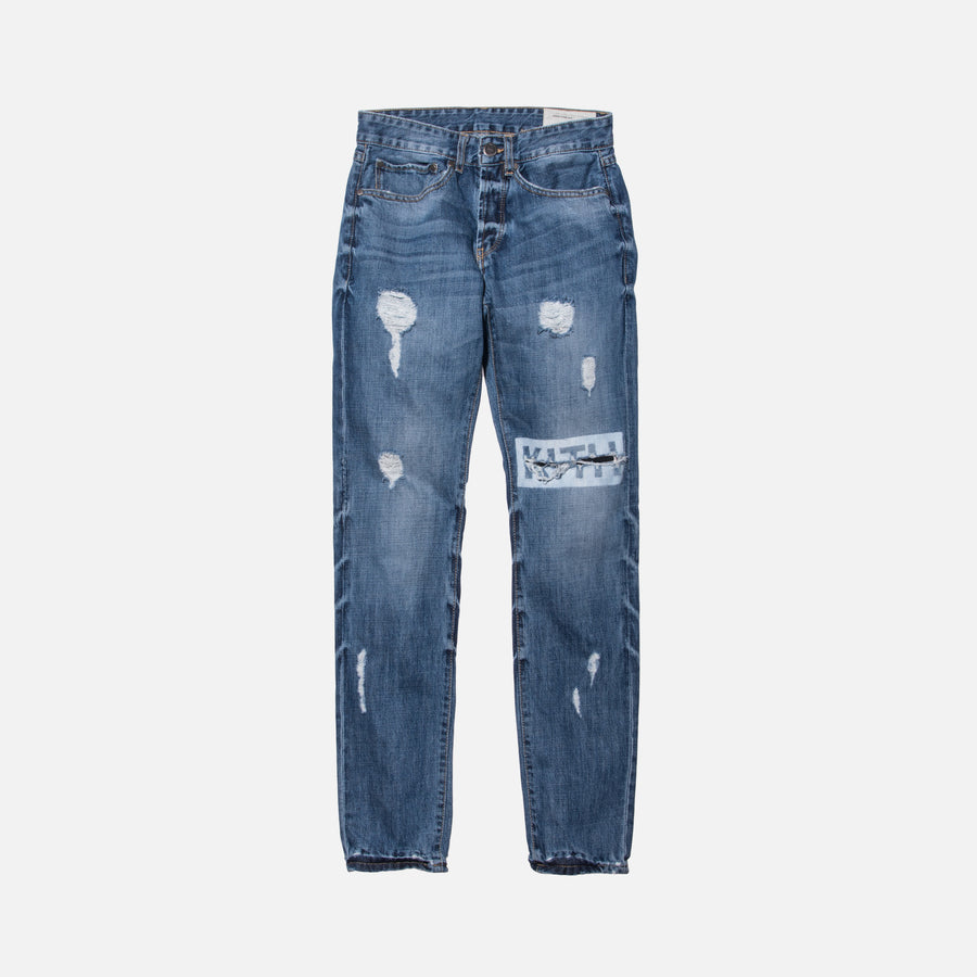 Kith Classics Varick Destroyed Denim - Medium Blue