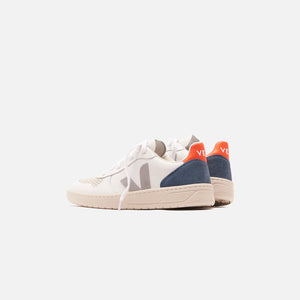 Veja V-10 - Extra White / Oxford Grey / Orange Fluo