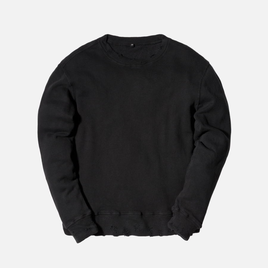 R13 Vintage Distressed Crewneck - Washed Black