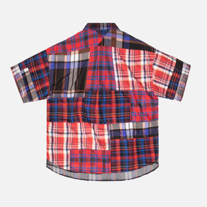 White Mountaineering Madras Check Patchwork Half Sleeve - Navy