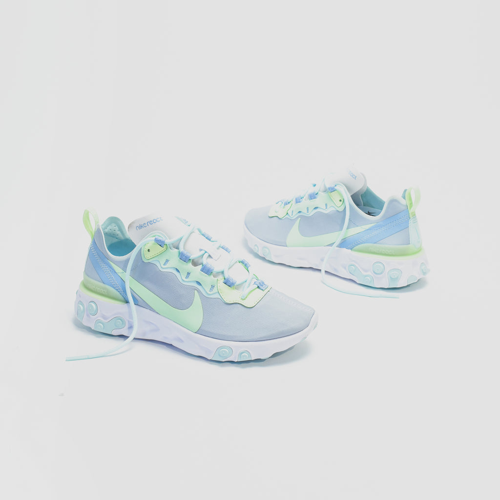 20bfc7690cfe Nike WMNS React Element 55 - White   Frosted Spruce   Barely Volt – Kith