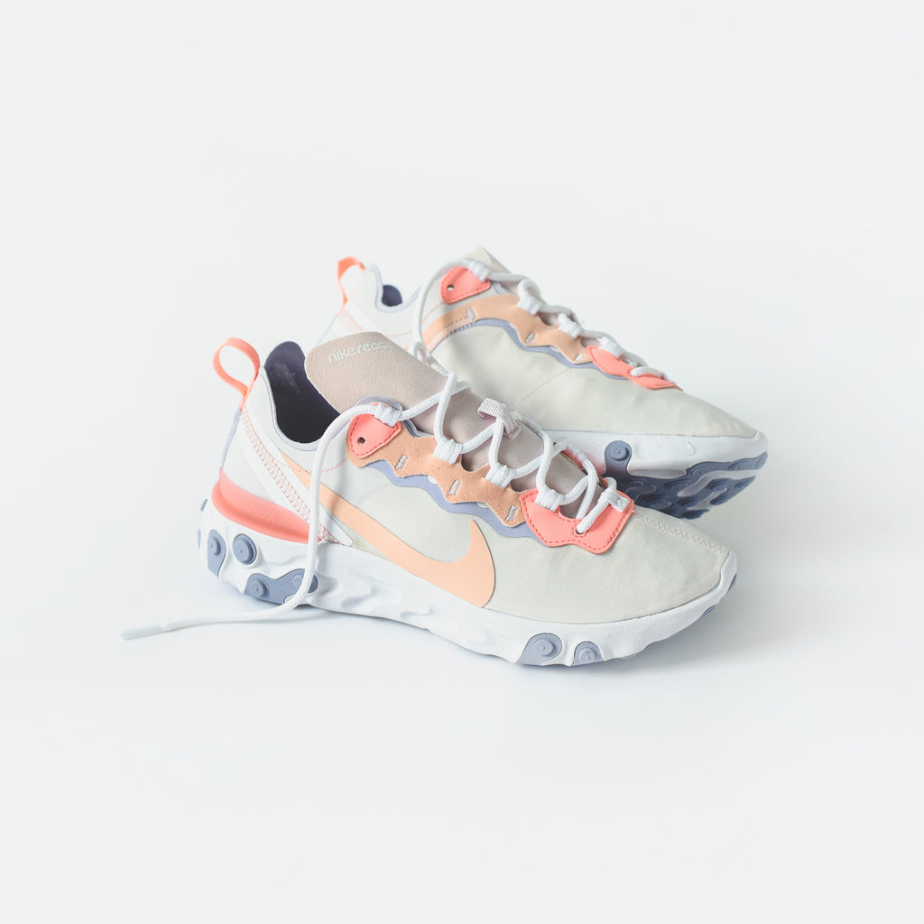 more photos dcdeb d2c2f Nike WMNS React Element 55 - Pale Pink   Washed Coral   Oxygen Purple – Kith