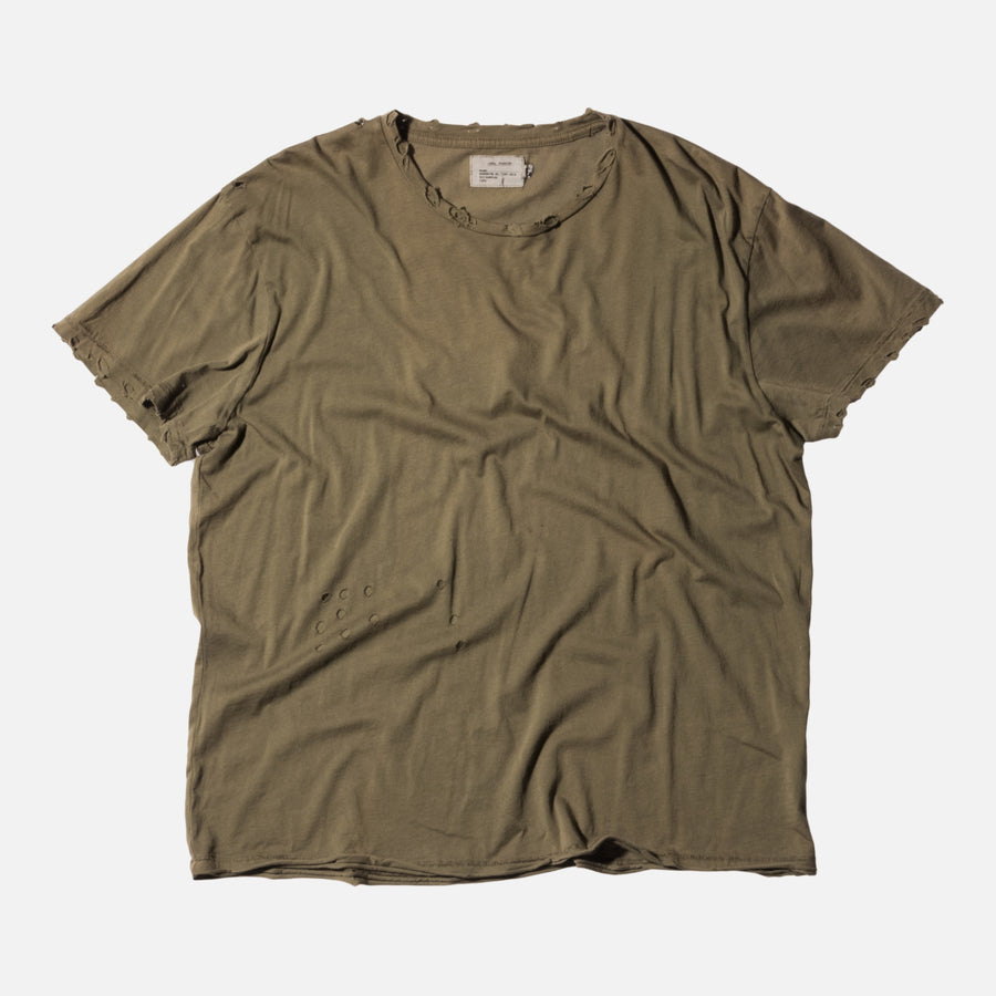 R13 Destroyed Tee - Warm Olive