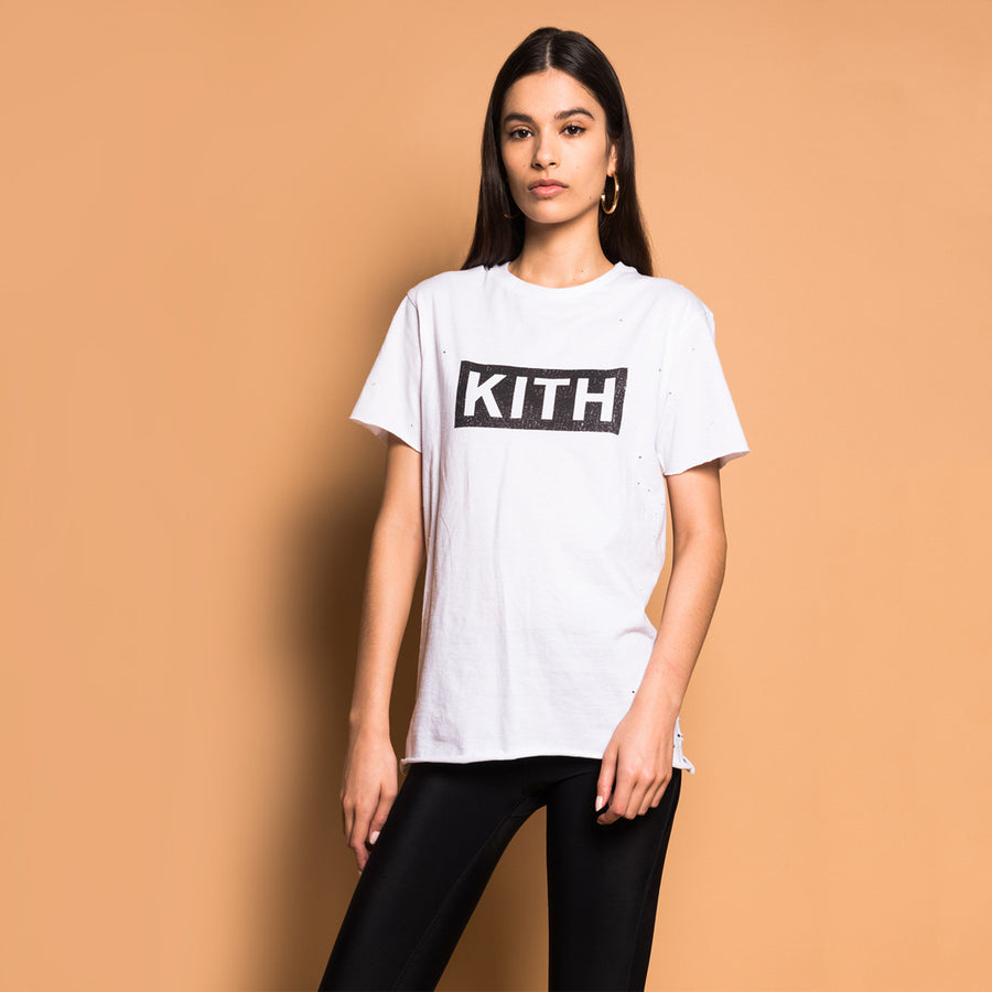 Kith Distressed Logo Tee - White