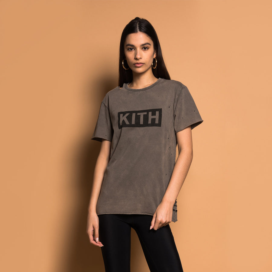Kith Distressed Logo Tee - Olive