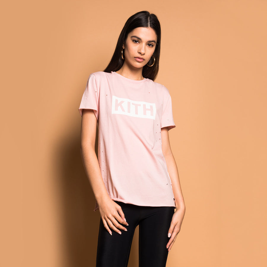 Kith Distressed Logo Tee - Blush Pink
