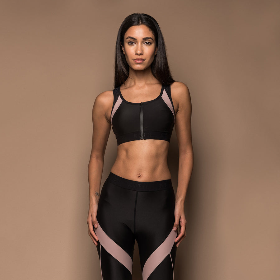 Kith Amato Zip-Up Sports Bra - Black / Rose
