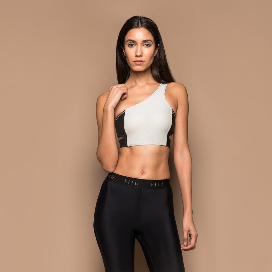 Kith Bryn Single Shoulder Sports Bra - Grey / Black