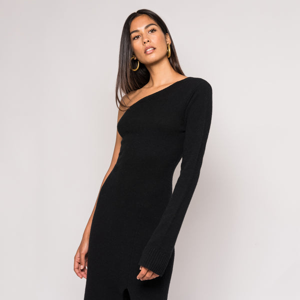 Kith Wylie One Shoulder Sweater Dress - Black