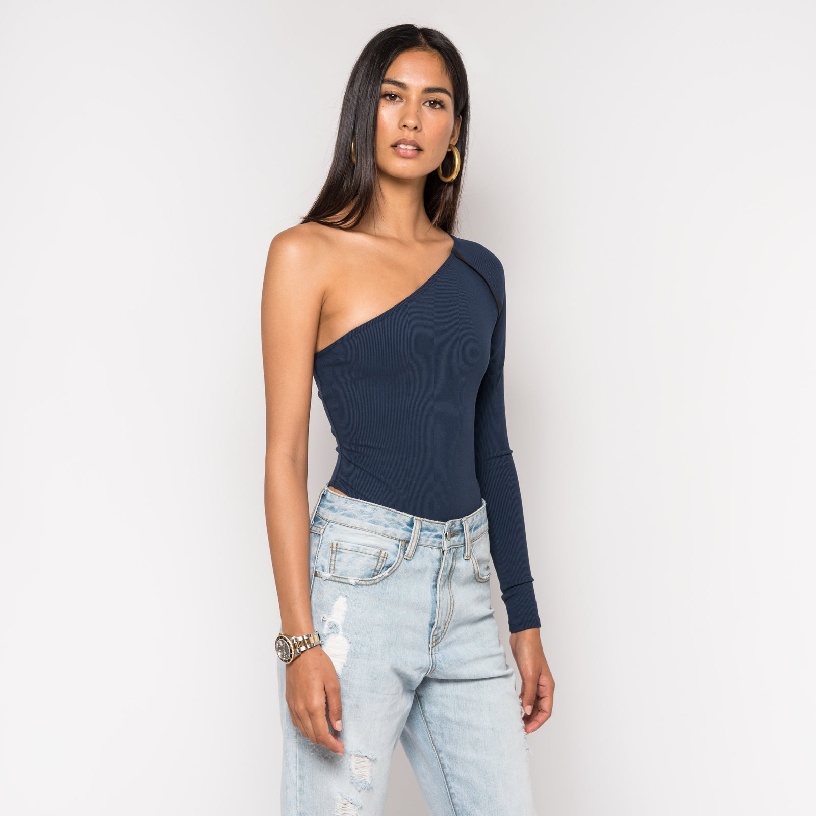 Kith Alea One Shoulder Bodysuit - Navy