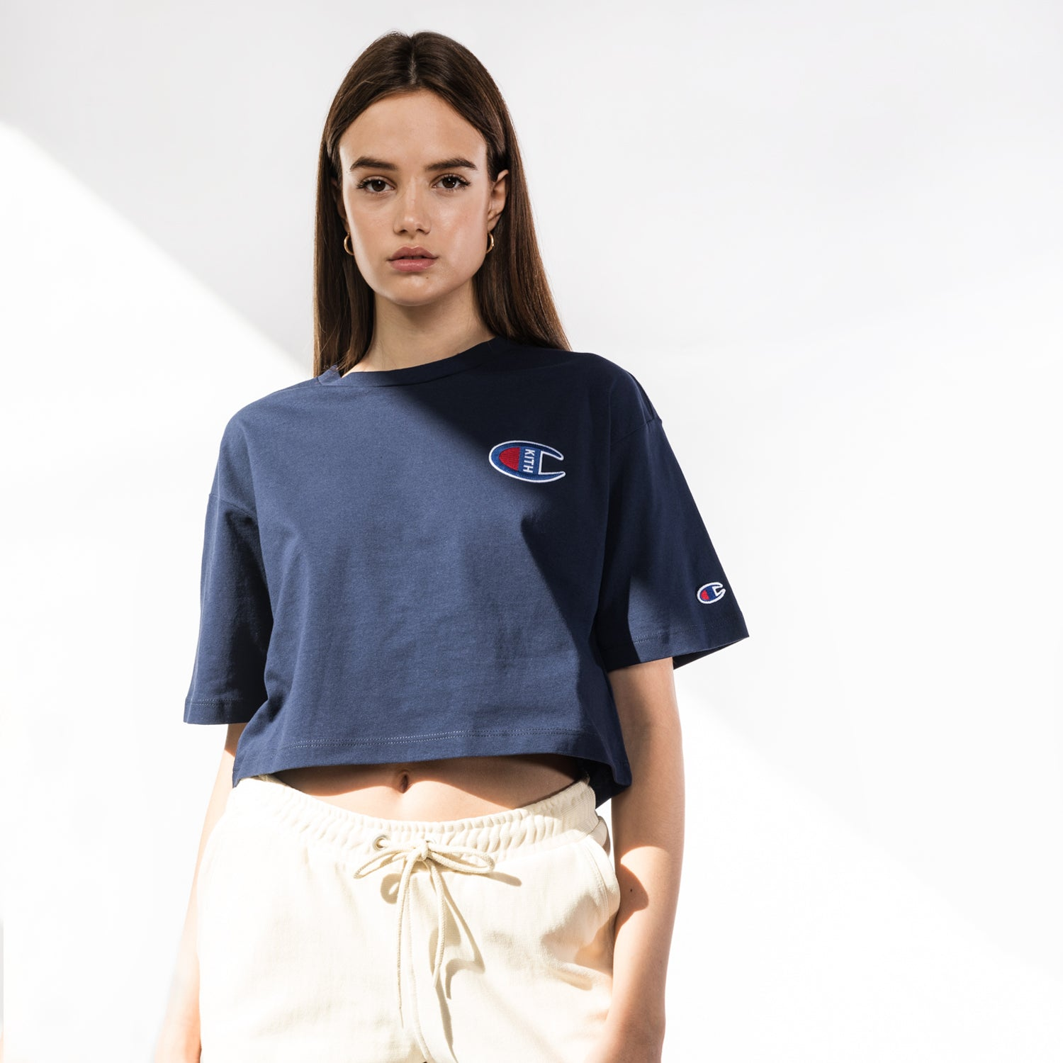 Kith x Champion Grace Cropped Tee - Navy