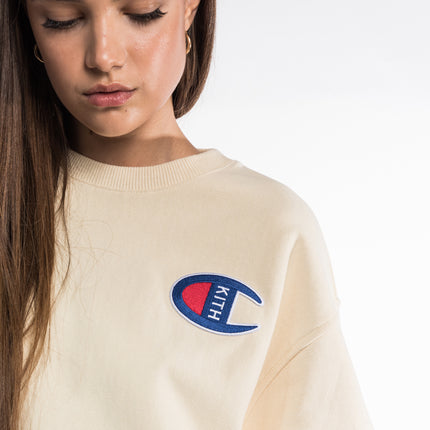 Kith x Champion Brianna Cropped Crewneck - Almond Milk