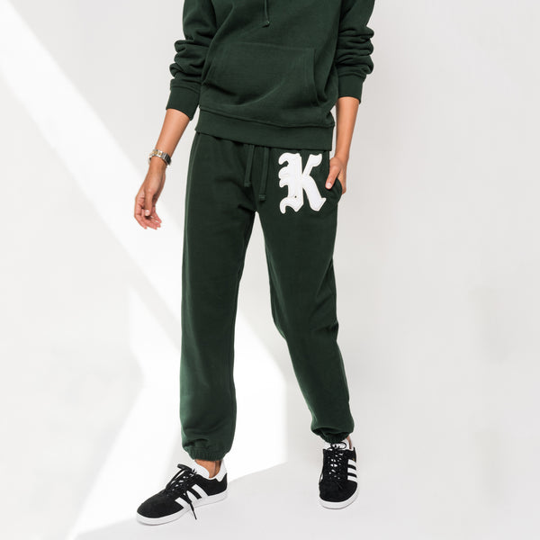 Kith Gothic K Varsity Sweatpant - Forest Green