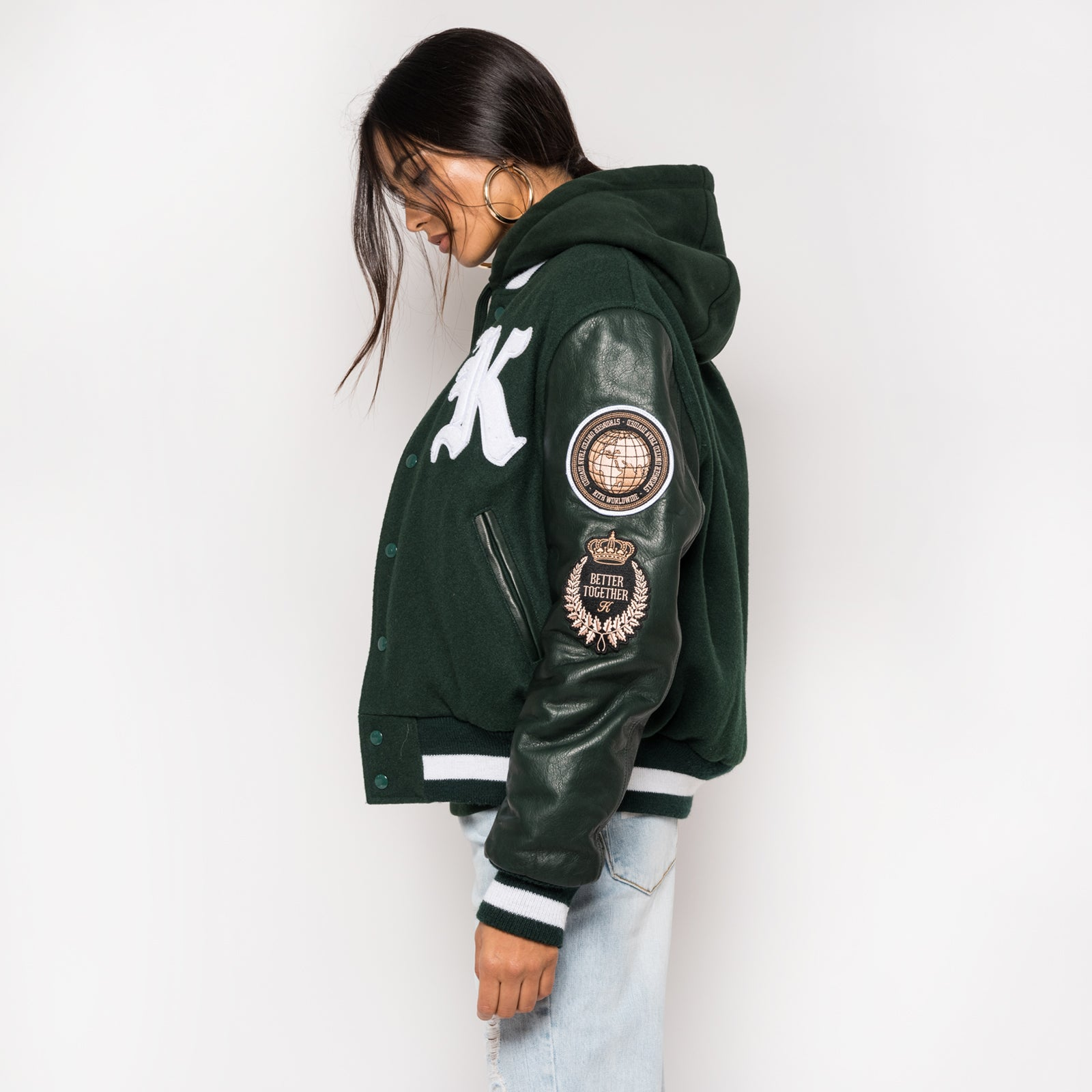 Kith x Golden Bear Logo Varsity Jacket - Forest