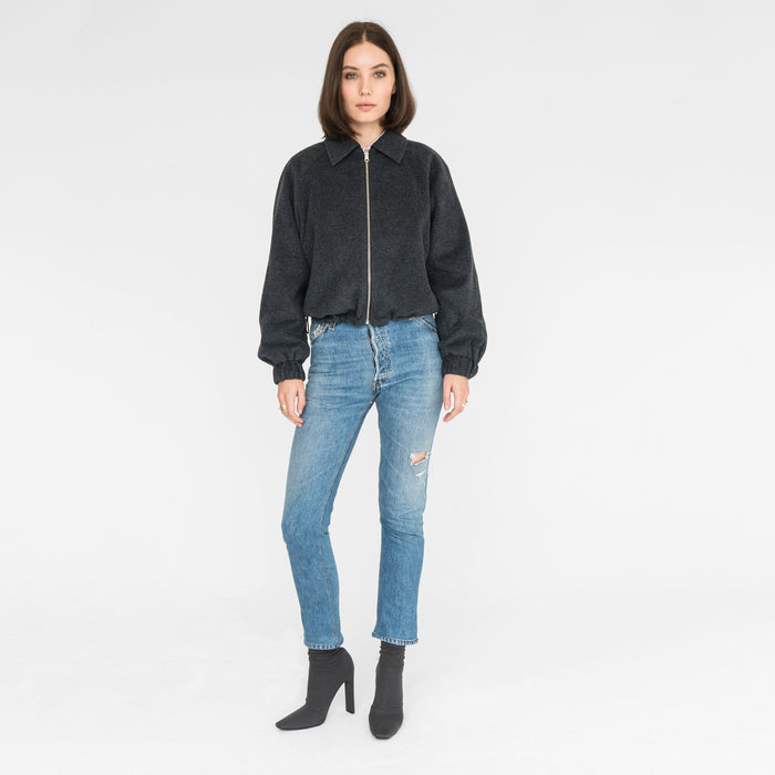 Kith Women Paulina Reversible Coaches Jacket - Charcoal Heather