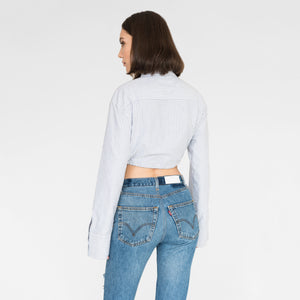 Kith Women Lisa Cropped Oxford Shirt - Grey