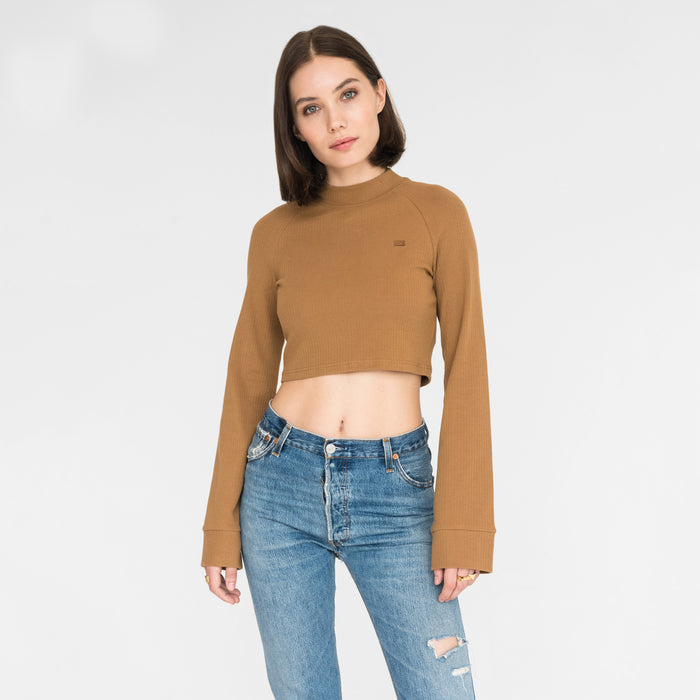 Kith Women Ellison Cropped Mock Neck - Brown Sugar