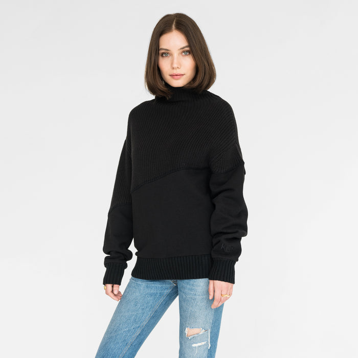 Kith Women Fay Combo Funnel Neck - Black