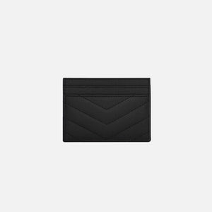 Saint Laurent Monogram YSL Matelesse Credit Card Case - Black