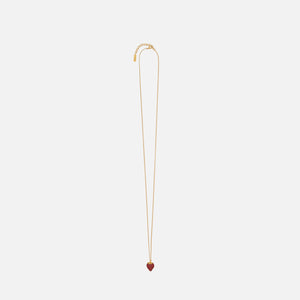 Saint Laurent Strawberry Charm Necklace - Gold