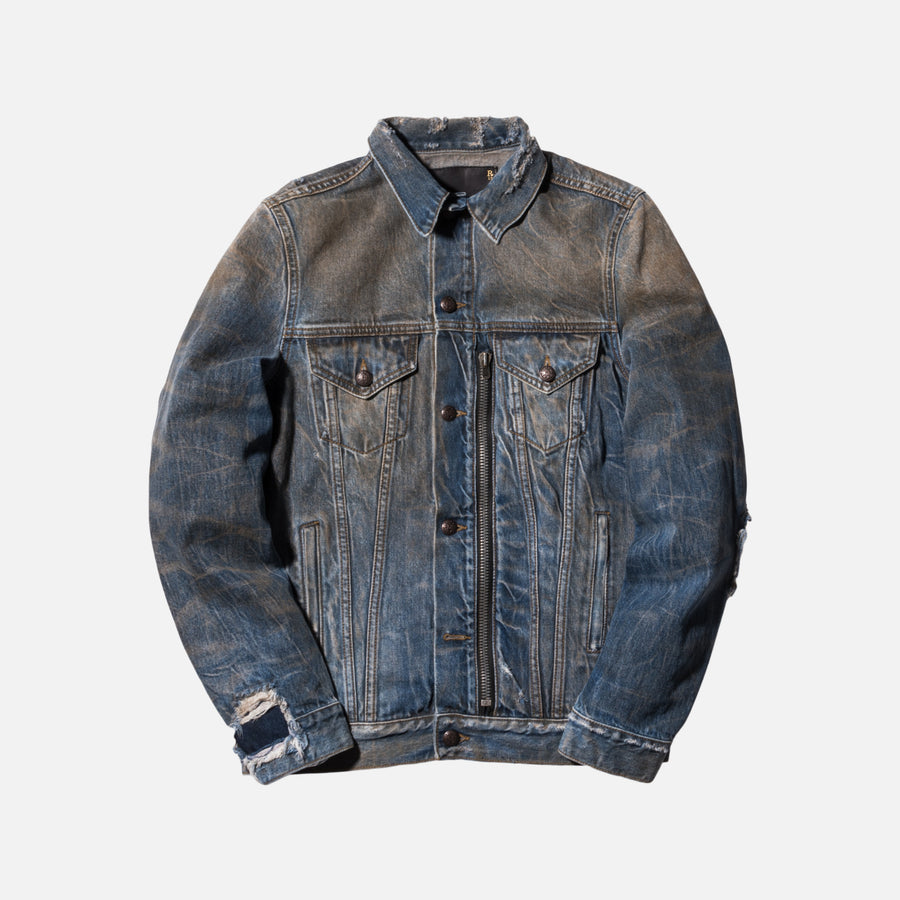 R13 Zippered Denim Trucker Jacket - Dirty Indigo