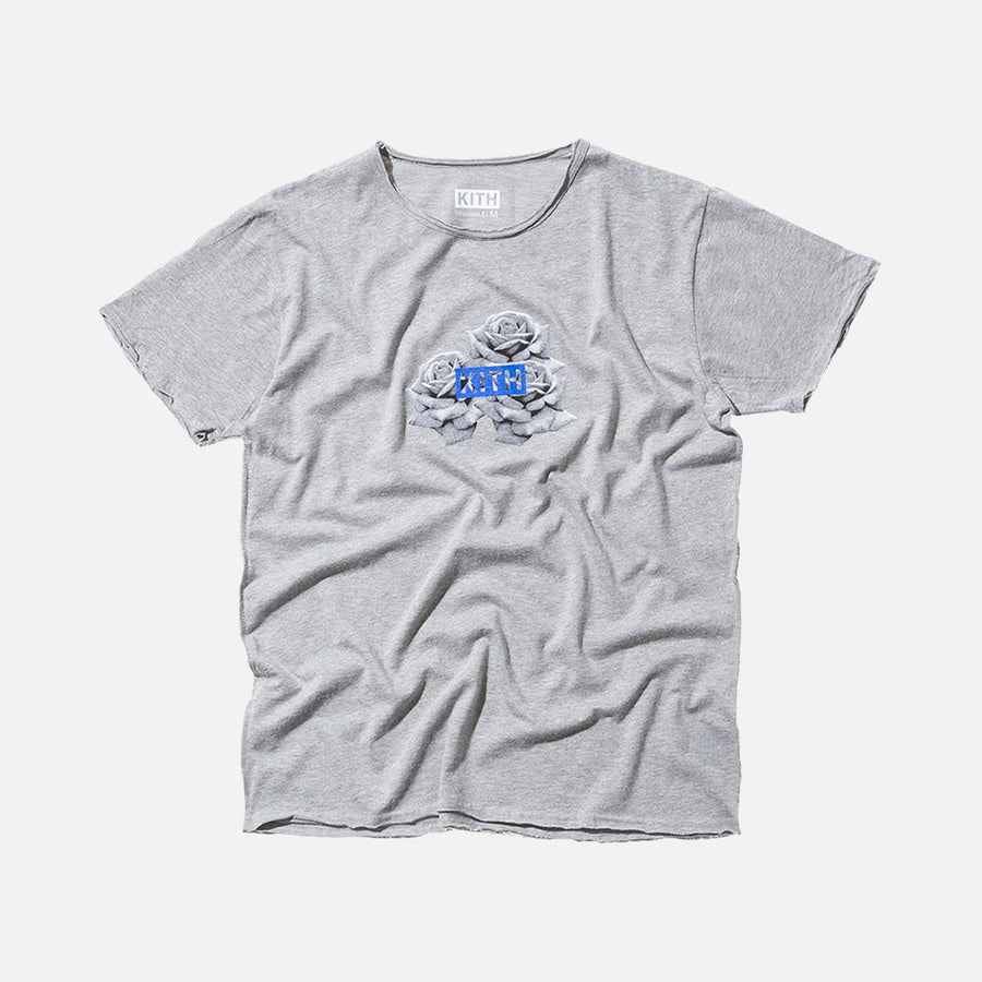 Kith Classics 3 Roses  Fray Tee - Heather Grey
