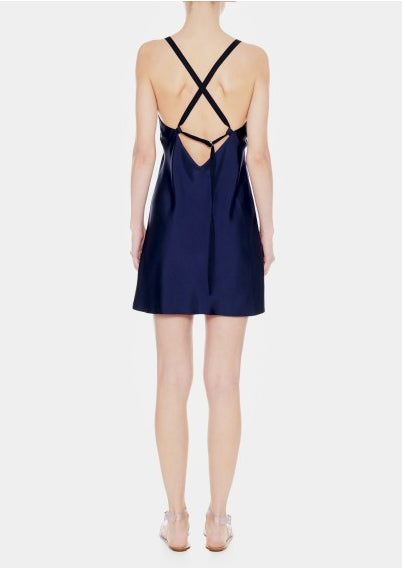 Tibi Medini Twill Ope Strap Back Short Dress - Navy