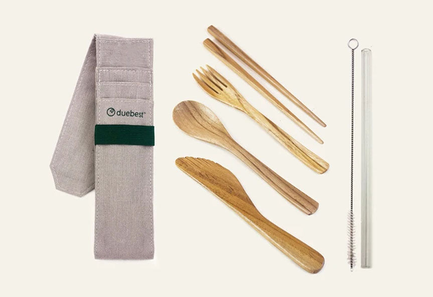 Duebest Reusable Wooden Cutlery Set & Straw