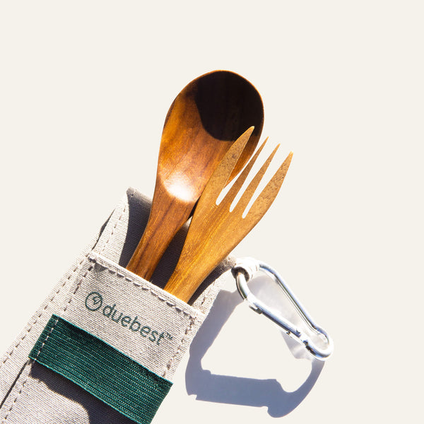 Compact (2 Utensil) Reusable Wooden Cutlery Set