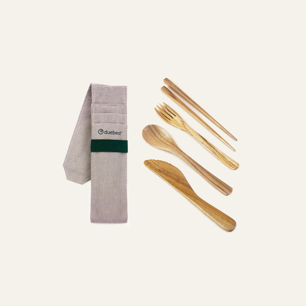 Duebest Reusable Wooden Cutlery Set
