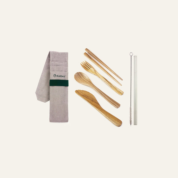Duebest Reusable Wooden Travel Cutlery Set & Glass Straw