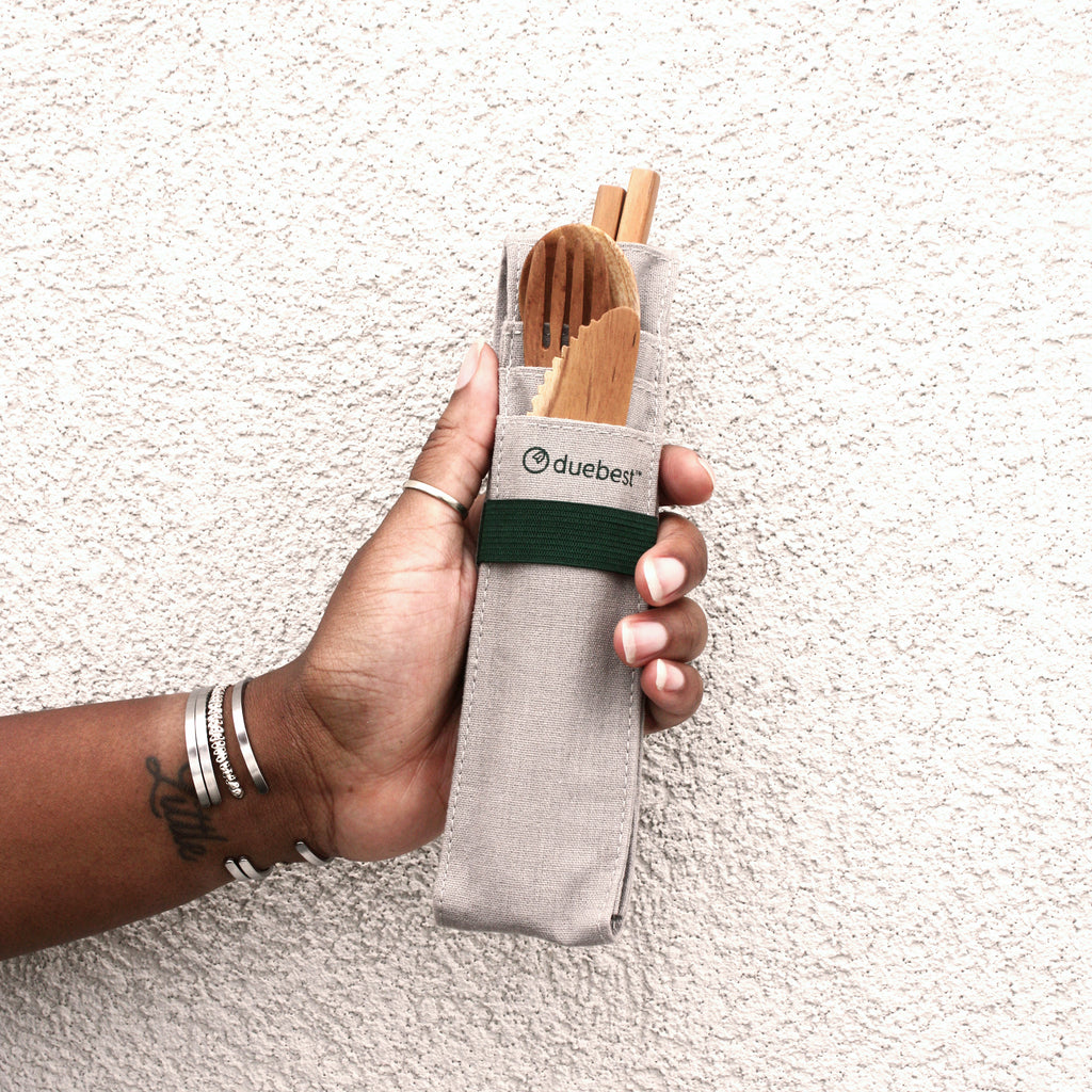 Reusable Wooden Cutlery Set and Straw