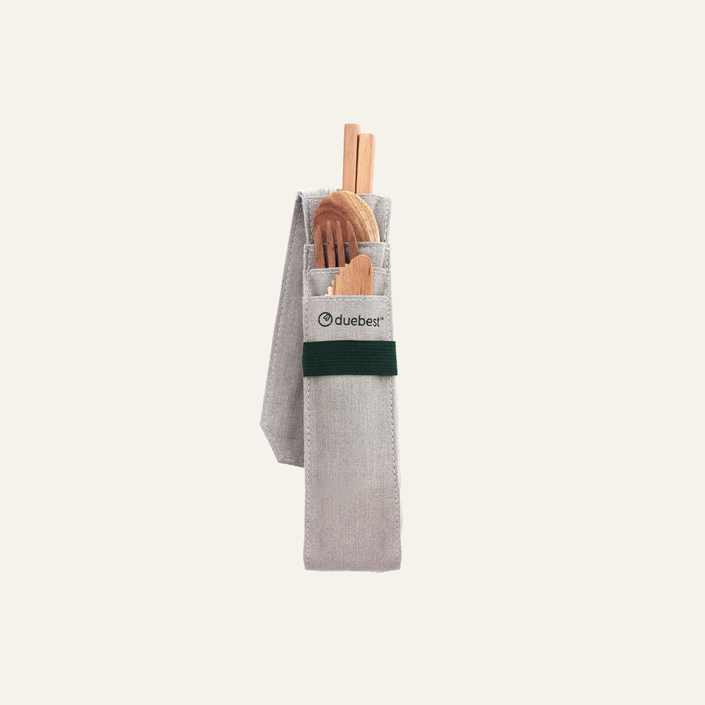 Reusable Wooden Cutlery/Utensil Set with Case