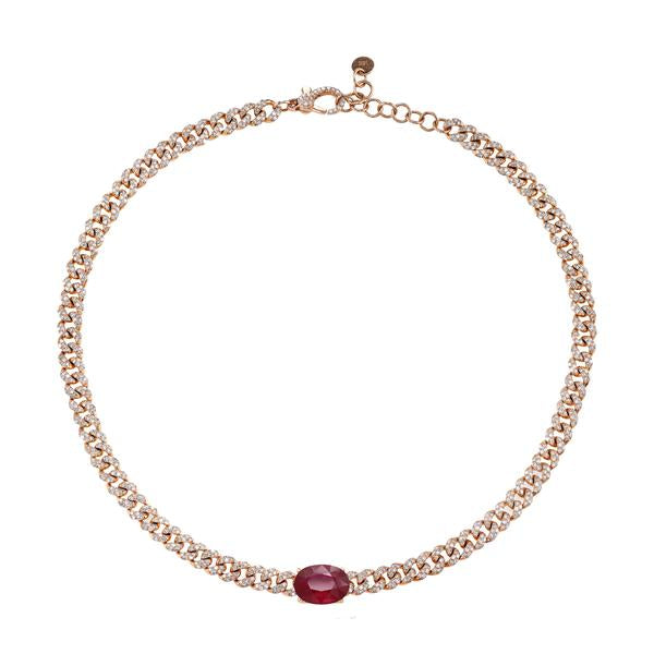 OVAL RUBY ON MINI PAVE LINK CHOKER