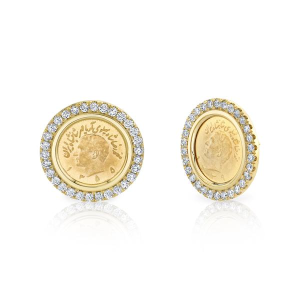 DIAMOND BRIM COIN EARRINGS
