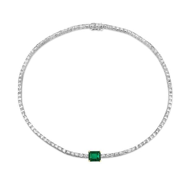 DIAMOND & EMERALD BAGUETTE TENNIS NECKLACE