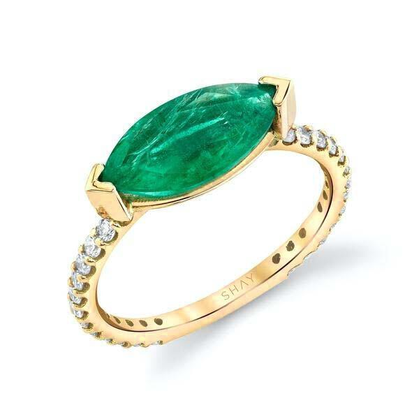 EMERALD SOLITAIRE MARQUISE PINKY RING