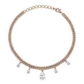 DIAMOND PEAR DROP MINI LINK CHOKER