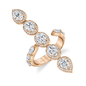 PAVE HALO PEAR & OVAL STICK RING