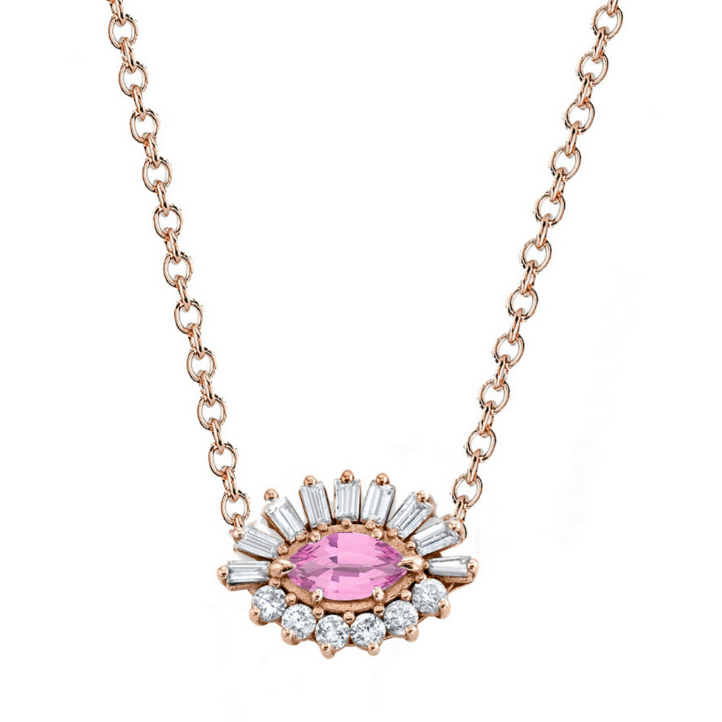 PINK SAPPHIRE & DIAMOND EVIL EYE NECKLACE